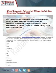 2022 Market Research explores the Industrial Internet-of-Things Global Industry Trends:Radiant Insights, Inc