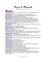 Honors & Memorials Honors & Memorials