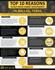 Top 10 Reasons to buy Multifamily investments in Dallas, Texas