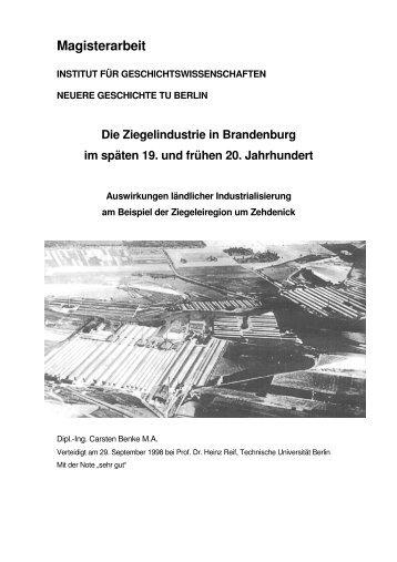 Die Ziegelindustrie in Brandenburg - Carsten Benke ...