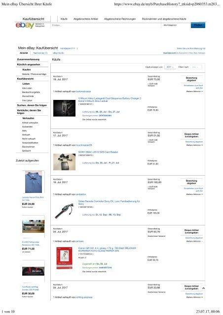 mein ebay bersicht ihrer k ufe. Black Bedroom Furniture Sets. Home Design Ideas