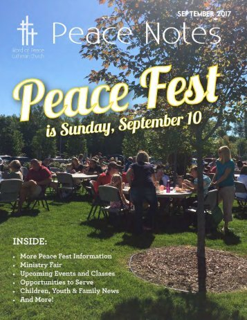 Peace Notes-September 2017 - Word of Peace Lutheran Church