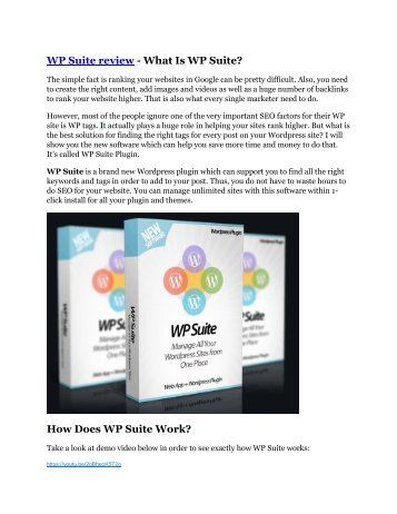 WP Suite Review and WP Suite (EXCLUSIVE) bonuses pack