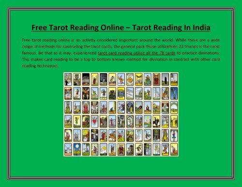 Free Tarot Reading Online – Tarot Reading In India