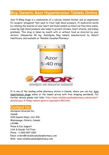 Buy Generic Azor Hypertension Tablets Online