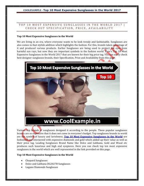 308f83f374ce04 Top 10 Most Expensive Sunglasses in the World .