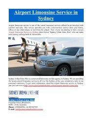 Airport Limousine Service in Sydney