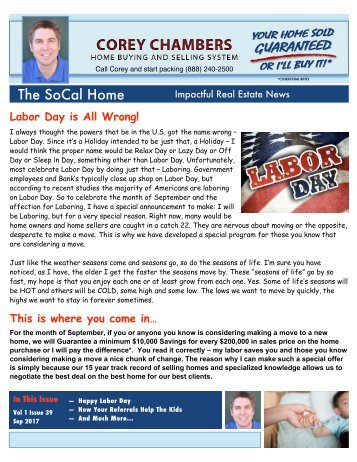 SoCal Home Newsletter Corey Chambers Sep 2017