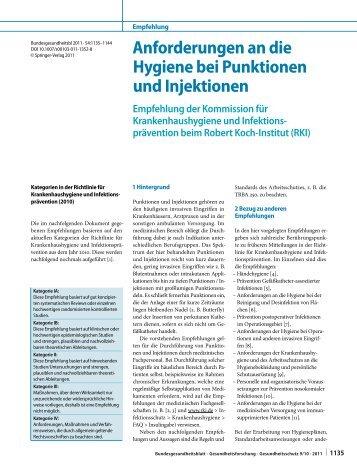 Anforderungen an die Hygiene bei Punktionen und Injektionen - RKI