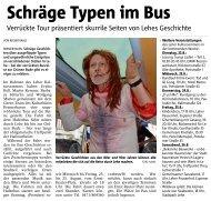 Schräge Typen im Bus. Verrückte Tour präsentiert skurrile Seiten von Leher Geschichte