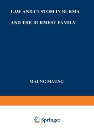 Download Ebook Law and Custom in Burma and the Burmese Family -  Best book - By Maung Maung