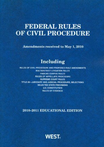Read PDF Federal Rules of Civil Procedure, Educational Edition -  Best book - By West Law School