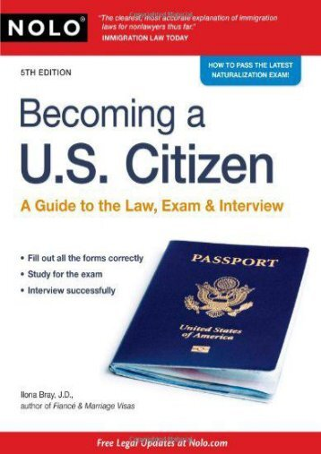 Read PDF Becoming A U.S. Citizen: A Guide to the Law, Exam   Interview -  Best book - By Ilona Bray