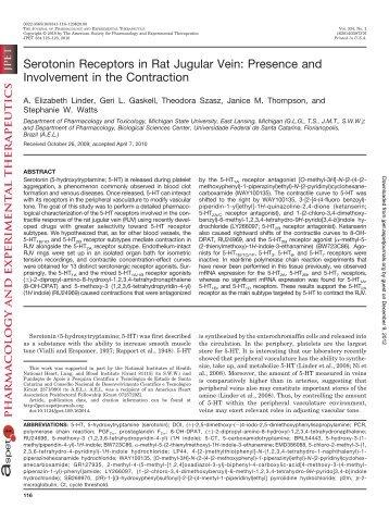 Serotonin Receptors in Rat Jugular Vein - Journal of Pharmacology ...