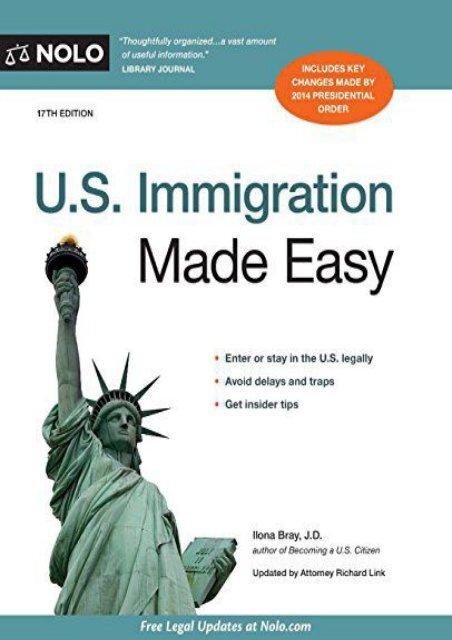 Best PDF U.S. Immigration Made Easy -  Online - By Ilona Bray J