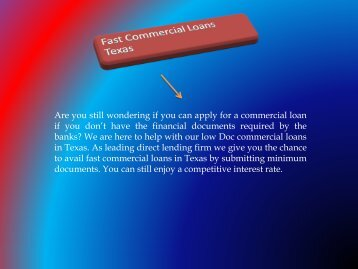 Texas Commercial Loan Financing