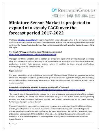 Miniature Sensor Market is projected to expand at a steady CAGR over the forecast period 2017-2022