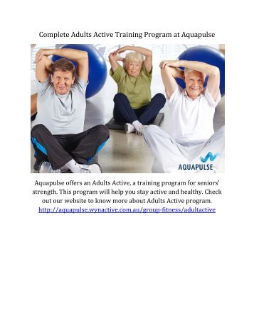 Complete Adults Active Training Program at Aquapulse