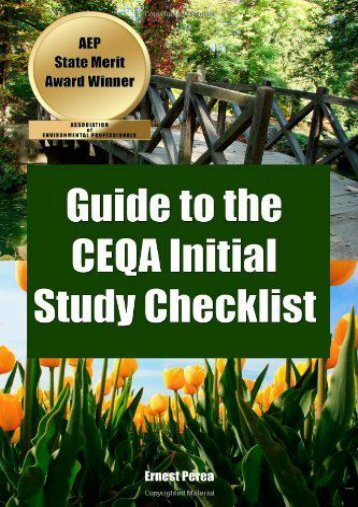 Full Download Guide to the Ceqa Initial Study Checklist -  Best book - By Ernest Perea