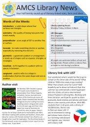 AMCS Library News - Autumn 1, 2016