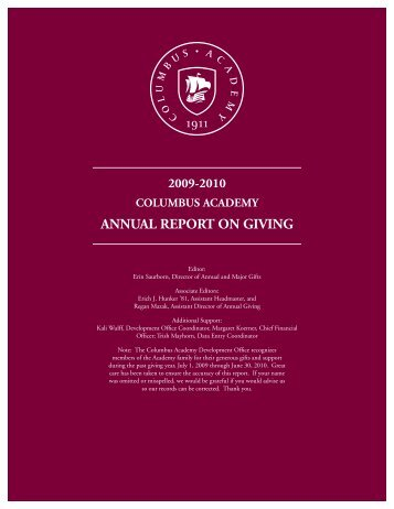 2009-2010 Annual Report on Giving - Columbus Academy