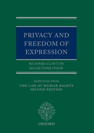Read PDF Privacy and Freedom of Expression (Law of Human Rights) -  For Ipad - By Richard Clayton