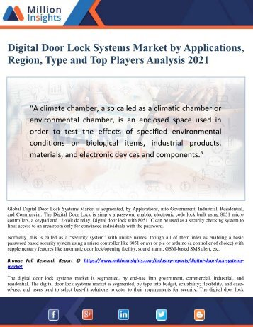Digital Door Lock Systems Market by Applications, Region, Type and Top Players Analysis 2021