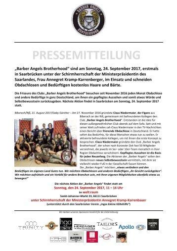 Barber Angels Brotherhood erstmals in Saarbrücken unter Schirmherrschaft der Ministerpräsidentin des Saarlandes