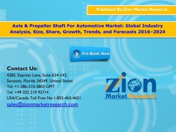 Global Axle & Propeller Shaft For Automotive Market, 2016–2024