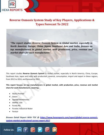 Reverse Osmosis System Study of Key Players, Applications & Types Forecast To 2022