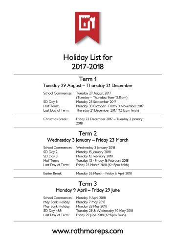 Holiday List for 2017-2018