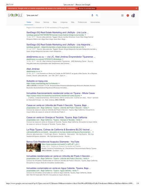 Search Results Index Status on Google for JMS COM MX Domain Name Overview Abel Jimenez Marketing Digital SEO Tijuana 6