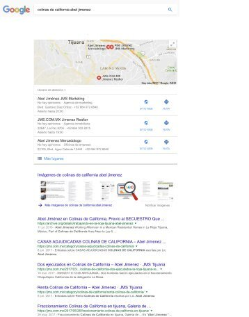 Colinas de California Abel Jimenez - Resultados de la Búsqueda de Keyword en Google México Jueves 6 - 1-15PM Pacifico - Proyecto de Branding Social Media and SEO de Abel Jimenez
