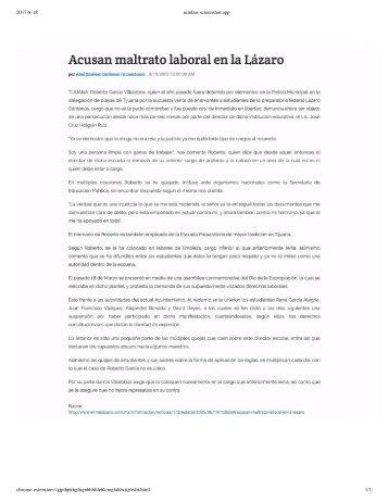 Acusan Maltrato Laboral en La Lazaro - Por Abel Jimenez Cardenas - Periodico El Mexicano - Tijuana, Baja California