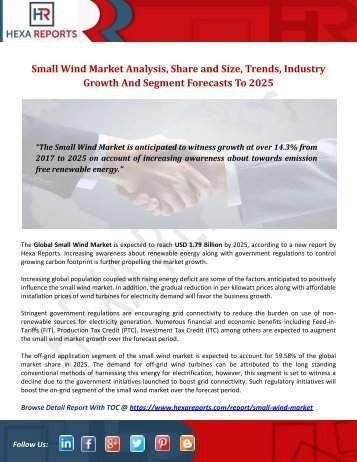 Small Wind Market | Share, Size, Trends, Growth and Analysis