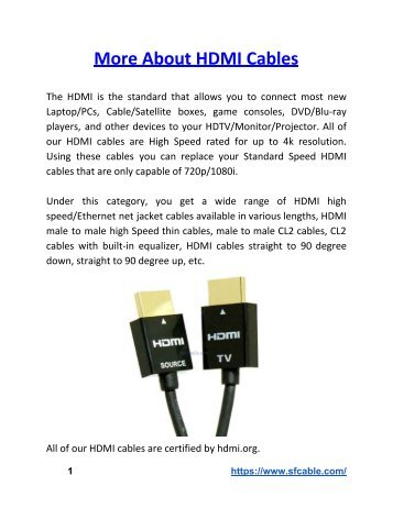 More About HDMI Cables