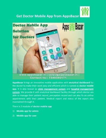 Get Doctor Mobile App from AppsBazar