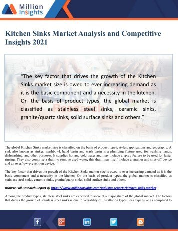 Kitchen Sinks Market Analysis and Competitive Insights 2021