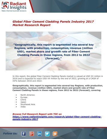 Fiber Cement Cladding Panels Industry Size And Growth Report 2017 By Radiant Insights,Inc