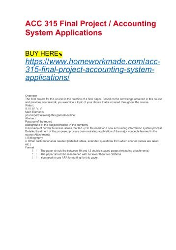 ACC 315 Final Project : Accounting System Applications