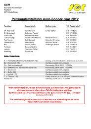 Personaleinteilung Aare-Soccer-Cup 2012 - SC Radelfingen