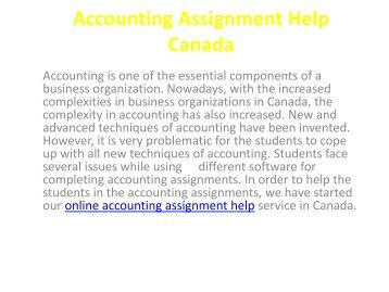 accounting assignment help canada