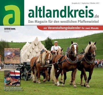 Altlandkreis Ausgabe September/Oktober2017 - Das Magazin für den westlichen Pfaffenwinkel
