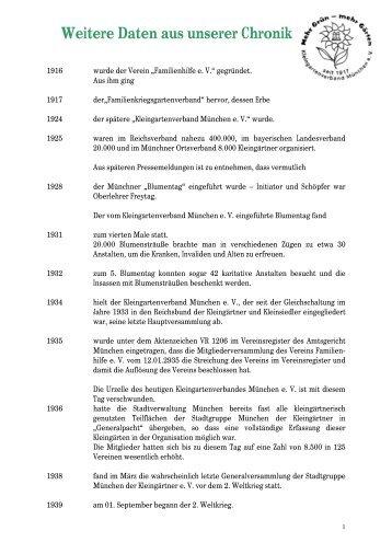 Weitere Daten aus unserer Chronik - Kleingartenverband München eV