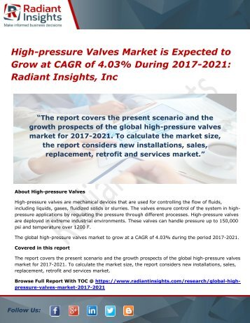 High-pressure Valves Market is Expected to Grow at CAGR of 4.03% During 2017-2021 Radiant Insights, Inc