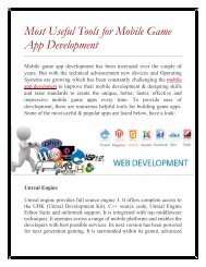 Most Useful Tools for Mobile Game App Development