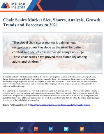 Chair Scales Market Study By Key Manufacturers, Regions, Type And Application To 2021