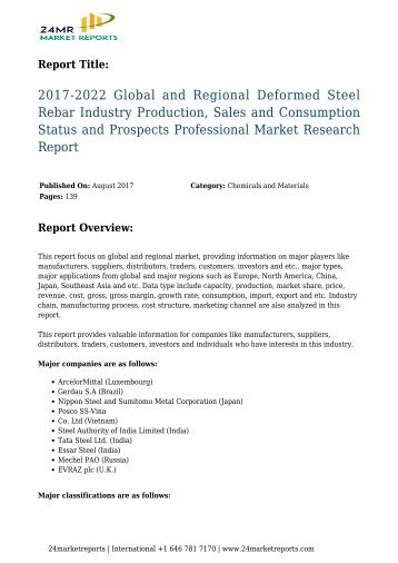 2017-2022 Global and Regional Deformed Steel Rebar Industry Production, Sales and Consumption Status and Prospects Professional Market Research Report