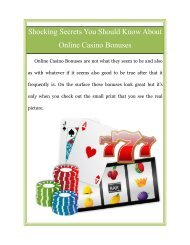 Shocking Secrets You Should Know About Online Casino Bonuses