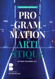 Programmation artistique Octobre-Décembre 2017